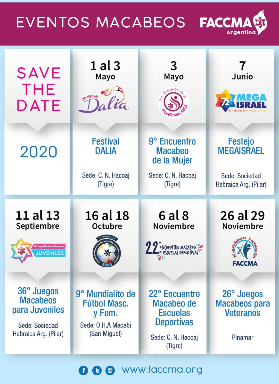 Save the date 2020, Eventos Macabeos